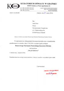Pismo odKuratorium Oświaty wGdańsku